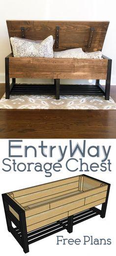 Entry way Storage Chest - DIY Plans furniture plans EntryWay Storage Chest Woodworking Plans, Woodworking Projects, Wood Projects, Woodworking Machinery, Woodworking Supplies, Woodworking Magazine, Woodworking Jointer, Intarsia Woodworking, Learn Woodworking