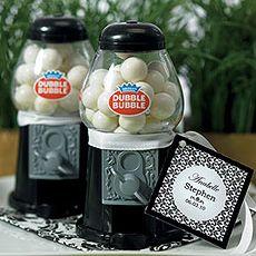 Mini Classic Black Gumball Dispenser favor. Quaint Wedding Stationery