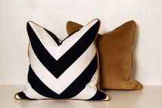 black and white pillow with caramel velour backing