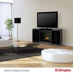 The Quintus Opti-Myst Electric Fireplace Media Console features a modern design, stylish coloring & realistic flame technology. Electric Fireplace Media Center, Electric Fireplace Entertainment Center, Corner Electric Fireplace, Electric Fireplaces, Fireplace Media Console, Fireplace Mantels, Open Shelving, Modern Design, Media Consoles