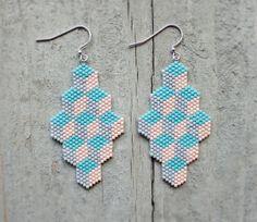 Beaded Geometric Box pattern Earrings by AYAJewelryStudio on Etsy