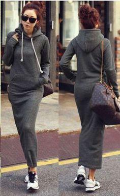 Women-Fleece-Hooded-Long-Maxi-Dress-Hoodie