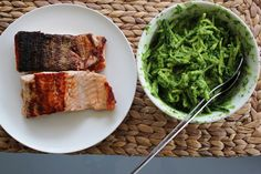 Grilled Salmon with Zucchini Noodles and Pesto