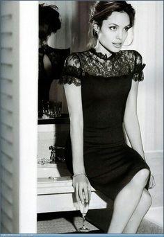 Elegant, classy lace little black dress (Angelina Jolie)