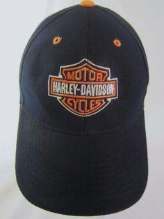 Harley Davidson Ball Cap Embroidered Classic HD Logo Black Orange Wool Blend Hat #Harleygear #harleydavidsonstyle #harleydavidsonfashion #hats