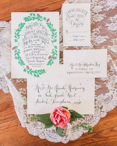 great garden wedding invitations, photo by Rachel May Photography http://ruffledblog.com/modern-marie-antoinette-wedding-ideas #weddinginvitations #stationery