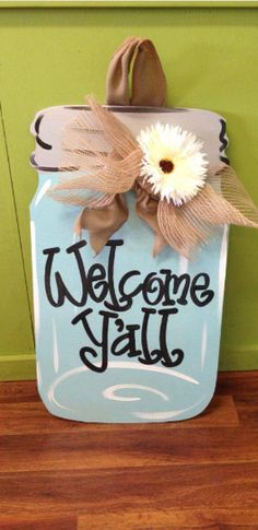 The Original Mason Jar, Wooden Door Hanger - Southern Landscaping Garden & Gifts