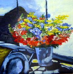 Francisca Louw - Julia's birthday flowers 2008 Oil on canvas