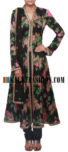 Buy Online from the link below. We ship worldwide (Free Shipping over US$100)  http://www.kalkifashion.com/black-floral-printed-anarkali-suit-with-embellished-placket-only-on-kalki.html