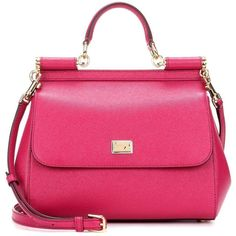 Dolce & Gabbana Sicily Medium Leather Shoulder Bag ($2,110) ❤ liked on Polyvore featuring bags, handbags, shoulder bags, pink, totes, pink tote, pink purse, leather tote handbags, leather handbag tote and genuine leather tote