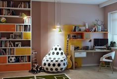 Bedroom, Bookshelf White Armchair Green Carpet Football Soccer Themed Kids Room Wooden Floor Potted Plant Yellow Pendant Lamps Dark Brown Table Lamp Wooden Desk And Glass Window ~ Thematic Kid Bedroom Interior Ideas for Your Baby's Magical Sanctuary Cool Boys Room, Cool Kids Bedrooms, Basement Bedrooms, Room Kids, Kids Rooms, Kids Room Shelves, Football Bedroom, Ideas Hogar, Kids Room Design
