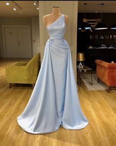 Blue Cheap Unique Formal Simple One Shoulder Prom Dresses Pretty Prom Dresses, Glam Dresses, Event Dresses, Stunning Dresses, Beautiful Gowns, Fashion Dresses, Formal Dresses, Fashion Fashion, High Fashion