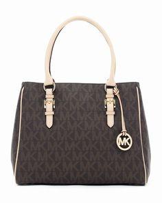 Michael Kors Jet Set Logo Mittlere Arbeit Tote Braun Pvc #fashionbag#jewellery|#jewellerydesign}