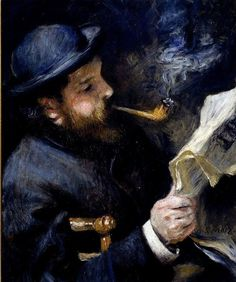 Claude Monet reading a newspaper. Pierre Auguste Renoir