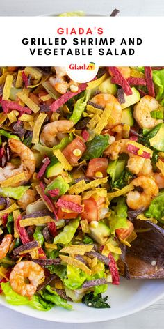 I love this grilled shrimp and vegetable salad for spring and summer. It's a really colorful and vibrant chopped salad, and the best part is that you can grill and chop everything ahead of time, then toss it with the simple vinaigrette when it's time to serve. You can swap out the shrimp with any protein, too! Grilled chicken, steak, salmon – anything would be delicious here. Giada Recipes, Salad Recipes, Delicious Recipes, Grilled Shrimp, Grilled Chicken, Shrimp And Vegetables, Chicken Steak, Large Shrimp, Large Salad Bowl