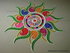Diwali special multicolored rangoli design | Easy and innovative rangoli designs by Poonam Borkar - YouTube
