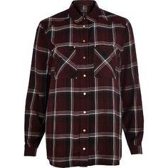 Dark red check oversized shirt