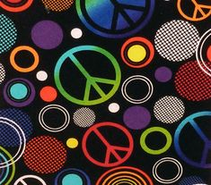 """Peace Sign Peace Symbol Fabric  Five - 6""""  Cotton Fabric Block Quilt Charm  5 Pieces  # 301-099 by AlwaysInStitchesCo on Etsy"""