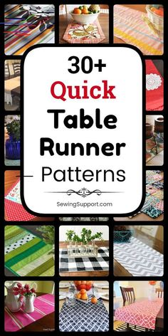 30 free, quick, and easy table runner sewing patterns, tutorials, and diy projects. Dress up your holiday table this season with these simple table runner designs. Patchwork Table Runner, Table Runner And Placemats, Quilted Table Runners, Quilted Table Runner Patterns, Sewing Projects For Beginners, Diy Projects, Simple Sewing Projects, Easy Sewing Patterns, Sewing Ideas