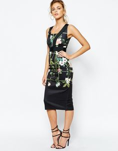Image 1 of Ted Baker Secret Trellis Elastic Dress