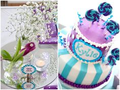 tourquise and purple baby shower | Check out the vintage carnival concepts + super cute designs in the ...