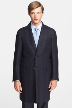 $1,995, Navy Overcoat: Canali Plaid Wool Overcoat. Sold by Nordstrom Rack. Click for more info: https://lookastic.com/men/shop_items/168656/redirect