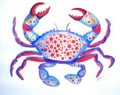 Watercolor painting beach painting crab print by ThimbleSparrow
