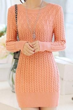 Stylish Long Sleeves Solid Color Sweater Dress For Women White Sweater Dress, Knit Dress, Sweater Knitting Patterns, Stylish Dresses, Crochet Clothes, Knitwear, Knit Crochet, Sweaters, Pink Black