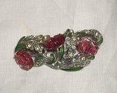 Vintage Art Deco Nouveau Rhinestone Enamel Poured Pin Gripoix Glass Lily Pin Brooch Philippe?
