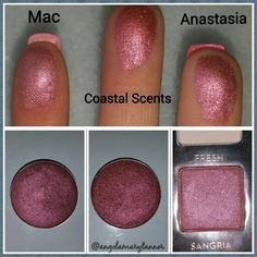 Eyeshadow dupes: Mac cosmetics cranberry  ($16 or $10 for the refill), coastal scents Victorian ruby  ($2), Anastasia Beverly Hills sangria  ($12)