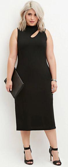 Plus Size Fashion - Plus Size Cutout Midi Dress