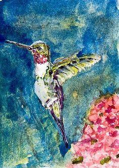 """The Return""-Hummingbird Art-Original Watecolor ACEO by Barry Jones"