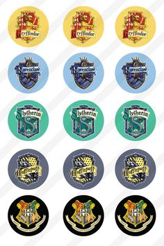INSTANT DOWNLOAD Harry Potter Houses 4x6 Bottle Cap Images Digital Collage Sheet 1in circles by Makesomeonesmiles on Etsy https://www.etsy.com/listing/207747704/instant-download-harry-potter-houses-4x6