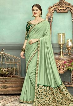 be07e95bb Buy Light Green Chanderi Silk Party Wear Saree 153760 with blouse online at  lowest price from