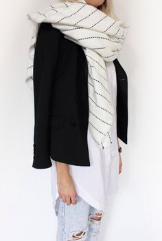 black + white + scarf + denim