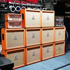 Orange Amplification-Brings you Rigs Of Doom . Orange Amplifiers, Sleep Band, Electric Ladyland, Wall Of Sound, Guitar Rig, Music Stuff, Music Things, Bass Amps, Orange Amps