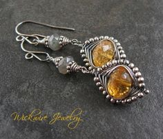 Citrine and Labradorite Sterling Silver Herringbone Earrings: love the herringbone with beads - and the labradorite wraps too.