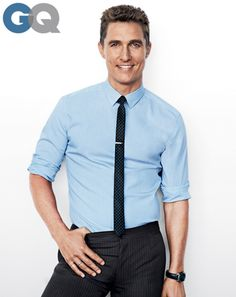Matthew McConaughey for GQ Dec. 2013 I love the shirt and thin tie.
