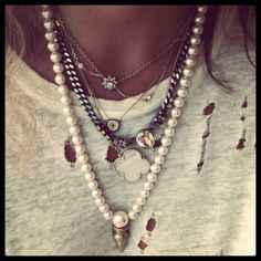 Layered Necklaces!!!!  I love how these are paired together.