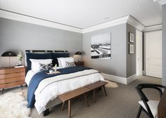 The Russell House Gray Bedroom Walls, Grey Walls, Home Bedroom, Bedroom Decor, Master Bedroom, Bedroom Colors, Apartment Chic, London Apartment, Dream Decor