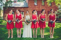 Mismatched bridesmaid dresses.   Kyle + Sam // Wedding