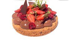 Tarte crousti-crémeuse au chocolat et aux premières framboises<br> par Frédéric Bau</br>dans Midi en France