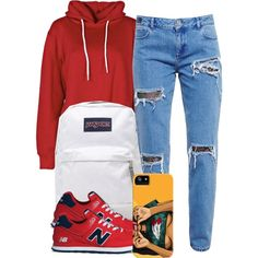 4:22:15 by codeineweeknds on Polyvore featuring polyvore, fashion, style, Boohoo, House of Holland, New Balance and JanSport