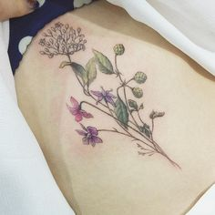 : Detail cut Birth flowers of family