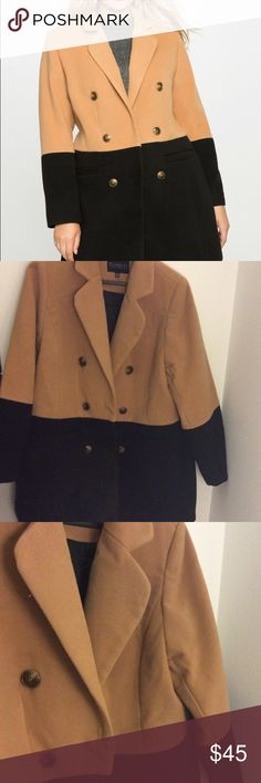 """HOST PIC! ELOQUII PeaCoat, double breasted 14/16V PLUS SIZE HOST PIC Purchased fall 2017 Camel/black color blocked coat Double breasted with brown """"tortie"""" buttons Fully lined  Super soft and plush New never worn  Smoke free and pet free home If you have any questions please feel free to ask!  I ship within 24 hours! All offers welcome  Size 14/16 Eloquii Jackets & Coats Pea Coats"""