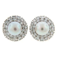 Harry Winston Pearl Diamond & Platinum Earrings