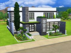 Modern style home for your sims with no custom content Sims 4 Modern House, Sims 2 House, Sims 4 House Plans, Sims 4 House Building, Sims 4 House Design, Casas The Sims 3, Sims 4 Family, Casa Top, Sims Freeplay Houses