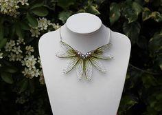 Green Dragonfly Choker - Gossamer Fairy/Faerie Butterfly Cicada Wing Statement Necklace