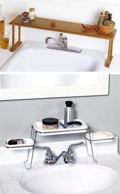 #28. Above the faucet shelf. Creates extra counter space! | 29 Sneaky Tips For Small Space Living