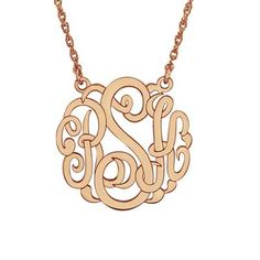 25mm+Script+Monogram+Necklace+in+Sterling+Silver+with+14K+Rose+Gold+Plate+(3+Initials)